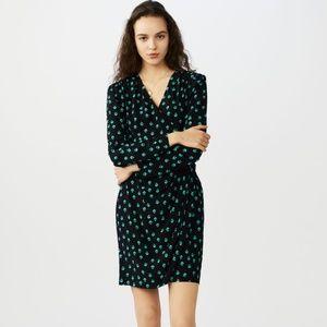 Maje Printed Crepe Wrap Dress Green Black